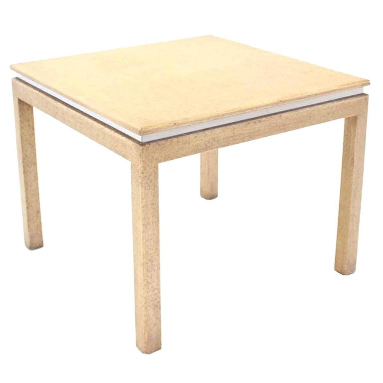 Grass Cloth Square Game Table For Sale
