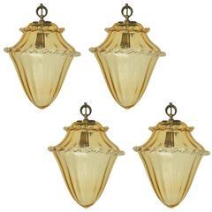 Italian Murano Amber Glass Lanterns by La Murrina