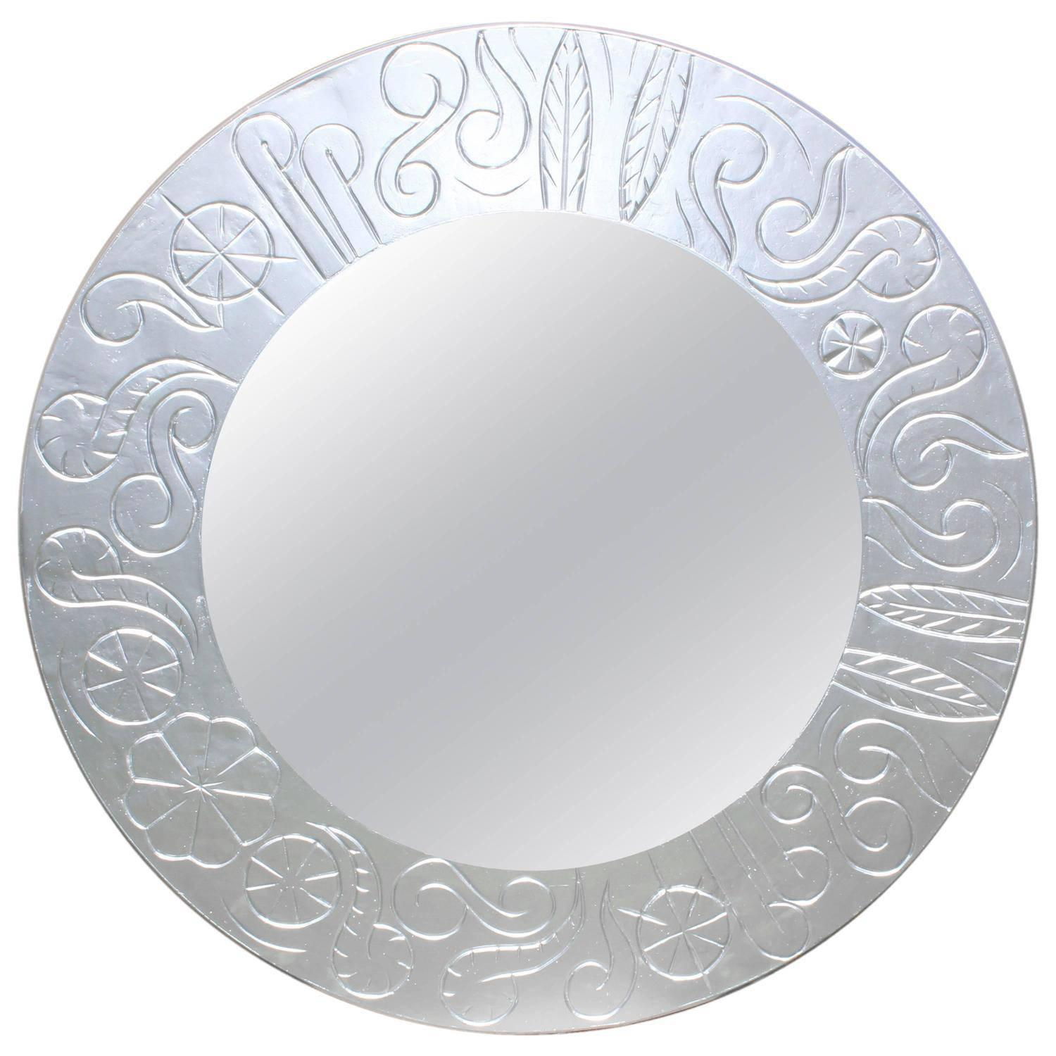 French Art Deco Round Silvered Wood Mirror