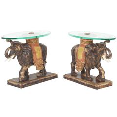Modern Rustic Italian Mid-Century Elephant End Tables