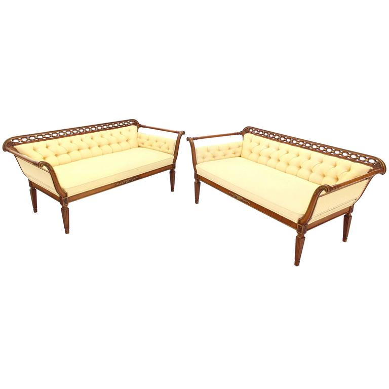 Pair of Regency Style Sofas or Loveseats Gold Upholstery For Sale
