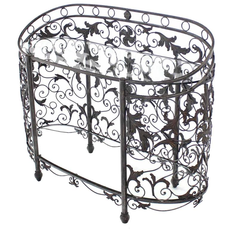Maitland Smith Wrought Forged Iron Oval Side Board Server Display Case