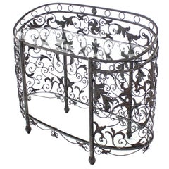 Maitland Smith Wrought Forged Iron Oval Side Board Server Display Case Console