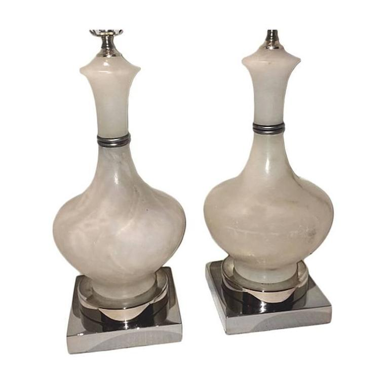 Pair of Midcentury Alabaster Table Lamps