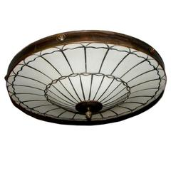 Set of Eight Leaded Glass Pendant Light Fixtures