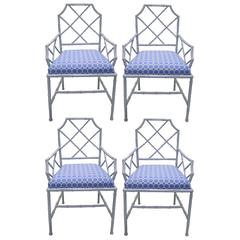 Chinese Chippendale Style Gray Metal Dining Chairs, Set of Four