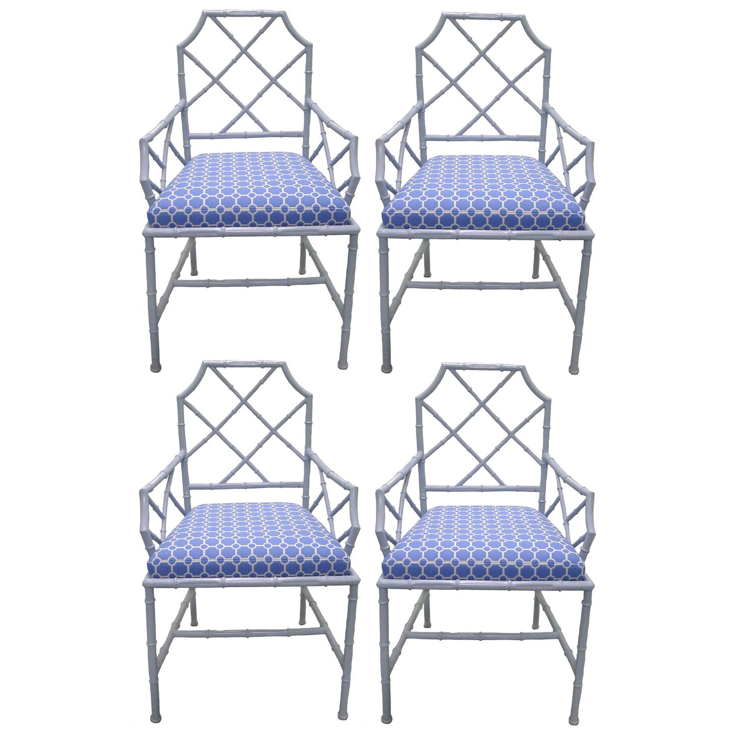 Chinese Chippendale Style Gray Metal Dining Chairs Set Of Four For Sale At 1