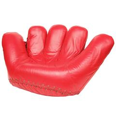 1970s Rare Red Leather Poltronova Joe Baseball Glove Chair