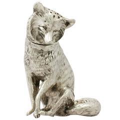 Antique Edwardian Sterling Silver 'Fox' Pepperette