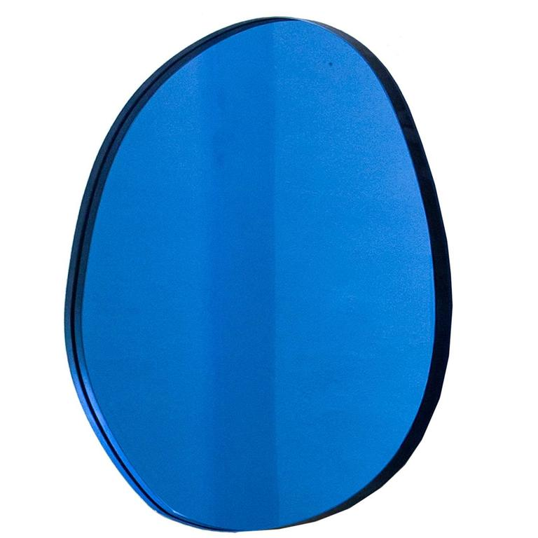 Seeing Glass Off Round Blue Mirror Small Thin For