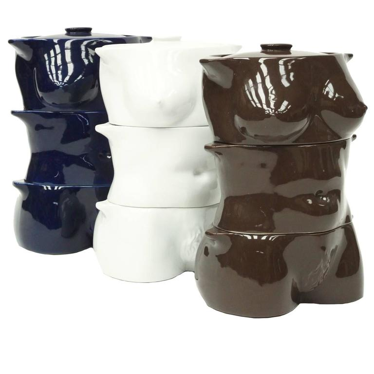 1970s Flesh Pots Ceramic Casserole Set by Morris Rushton Female Sculpture Nude