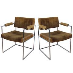 Pair of Milo Baughman Chrome Chairs