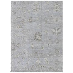 Modern Turkish Oushak Rug with Floral Motifs in Gray, Taupe and Lavender