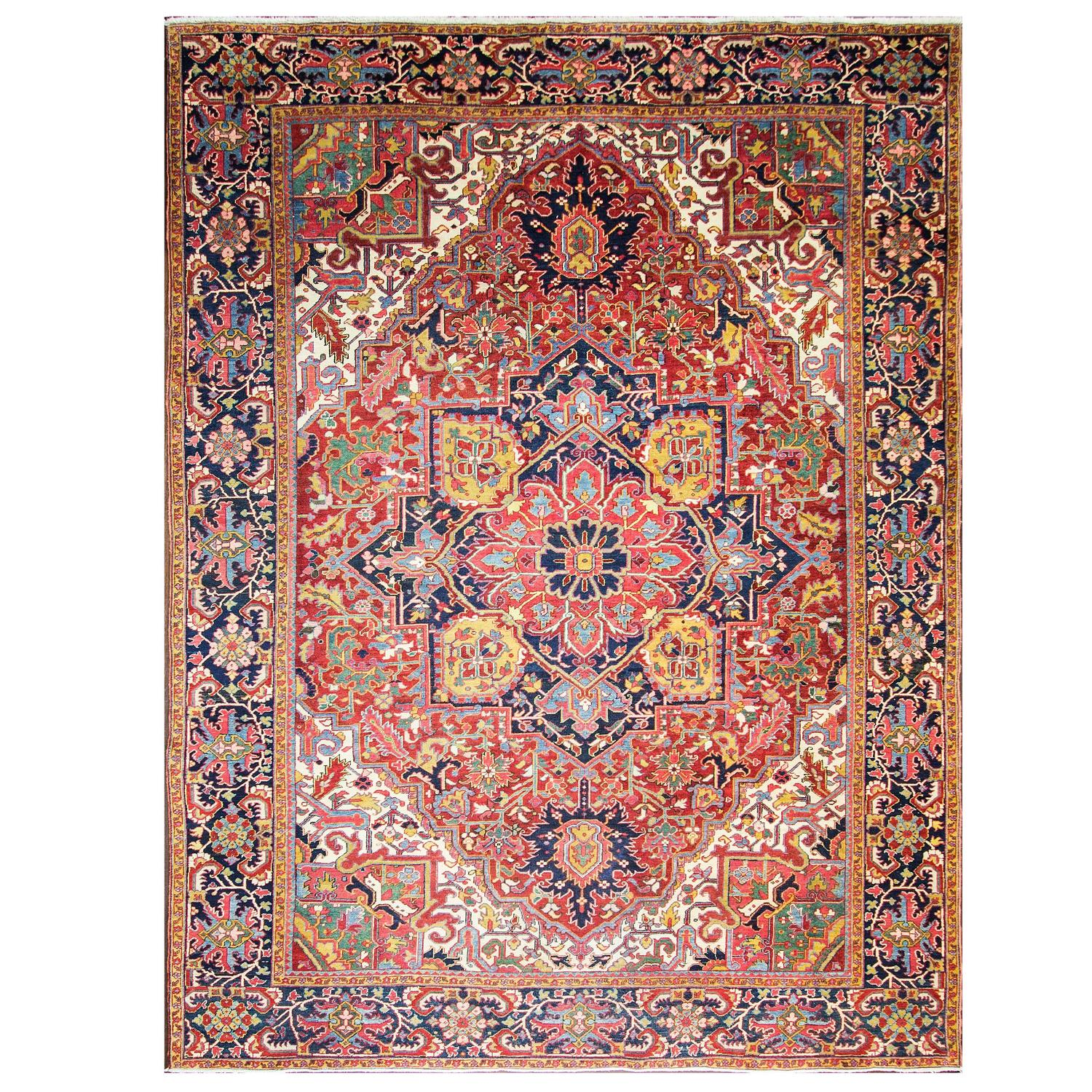 Chromatic Antique Persian Heriz Carpet For Sale At 1stdibs