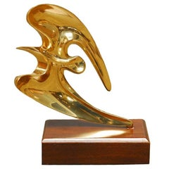 Mid-Century Brass Seagull Sculpture on Stand