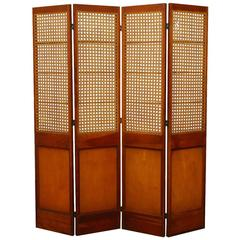 Four Panel Mahogany Screen with Cane Windows