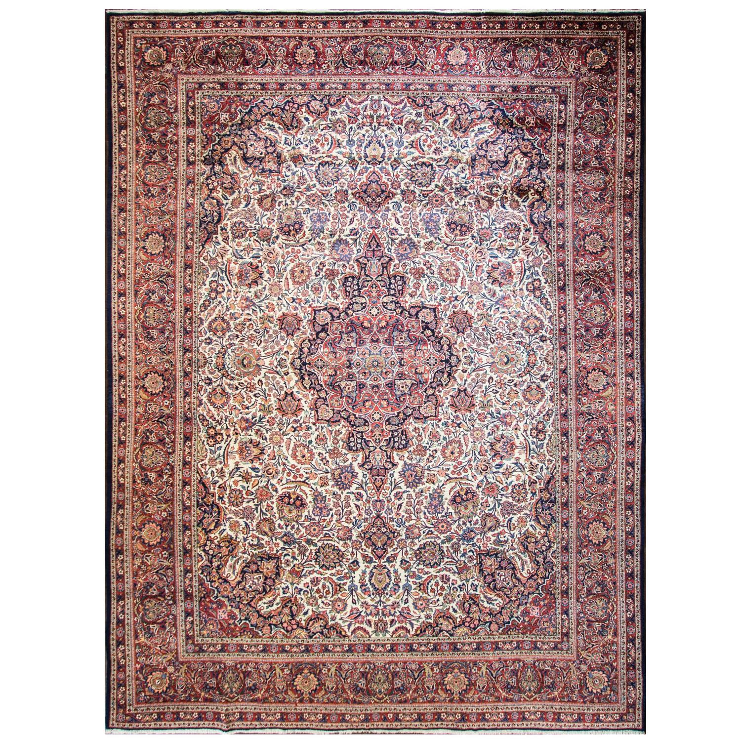 Classic Antique Ivory Persian Kashan At 1stdibs