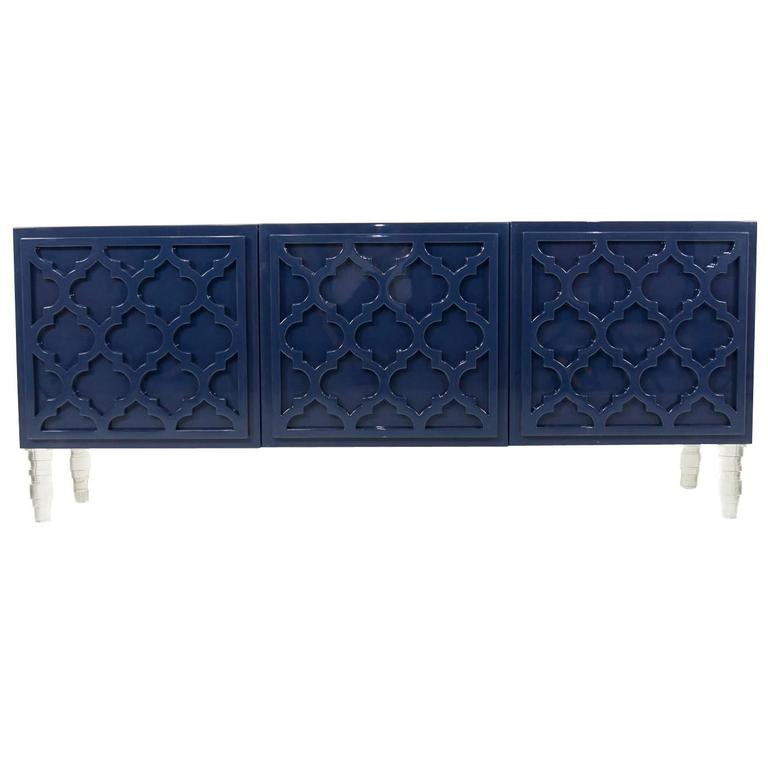 Mid-Century Style 3-Door Tangier Credenza in Glossy Navy Lacquer w/ Lucite Legs
