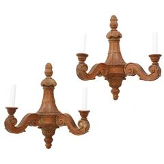 Pair of Italian Carved Limewood Sconces