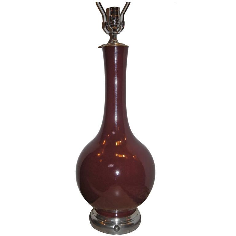 Large Sang de Boeuf Porcelain Lamp