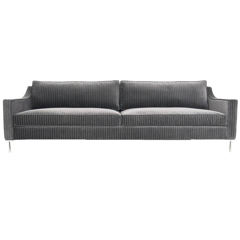 Mid-Century Style Audrey Sofa in Charcoal Pinstripe Print w/ Chrome L-Legs