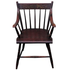 Early Original Paint Decorated 19th Century Hitchcock Armchair