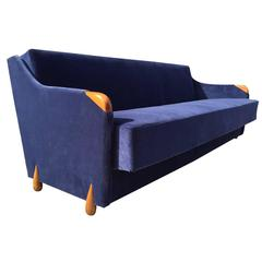 1950s Blue Velvet Sleeper Sofa