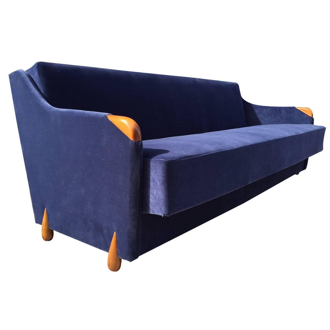 1950s blue velvet sleeper sofa for sale at 1stdibs for Blue sofas for sale