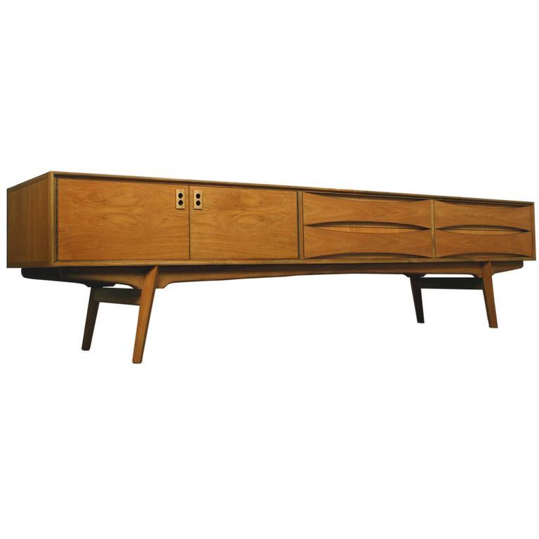 Belgian vintage lowboard sideboard 1960s teak veneer at for Sideboard lowboard