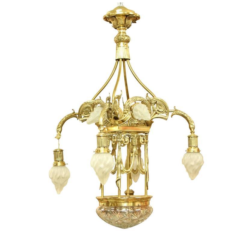 European Art Nouveau/ Secessionist Style Grand Chandelier