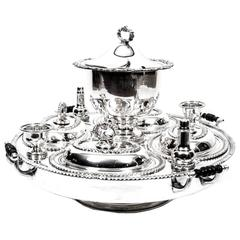 Antique Silver Plated Lazy Susan Serving Tray, circa 1920