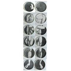 Piero Fornasetti Porcelain Adam on a Set of Twelve Plates