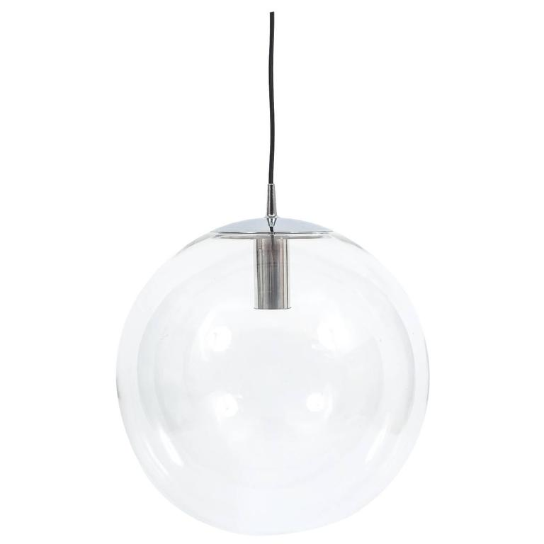 Very Large Limburg Clear Glass Ball Pendant Light 1