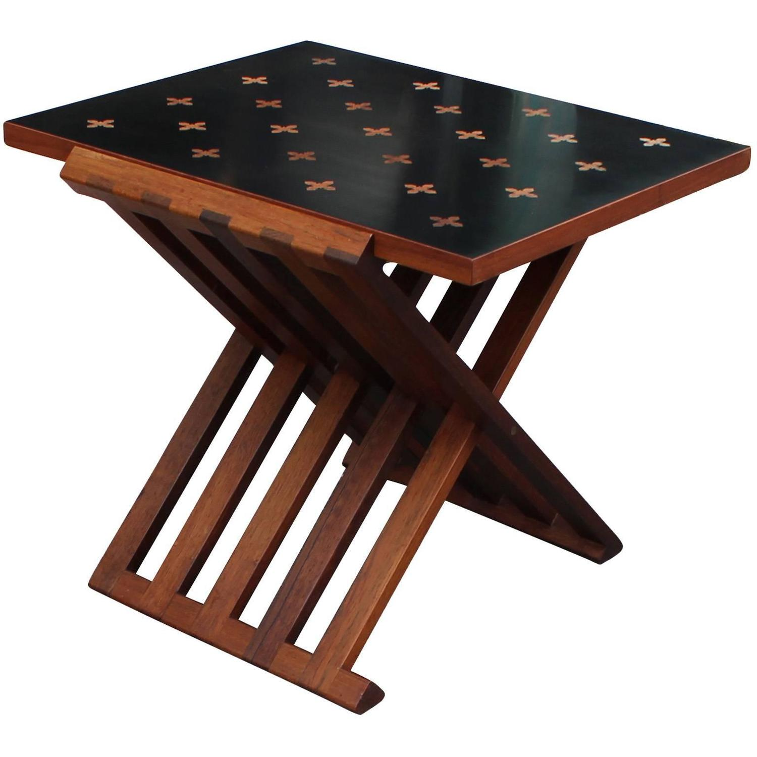 Folding Parquetry Side Table by Edward Wormley for Dunbar at 1stdibs