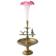 Early 20th Century Vienna Bird Epergne Centerpiece with Tulip Art Glass Vase