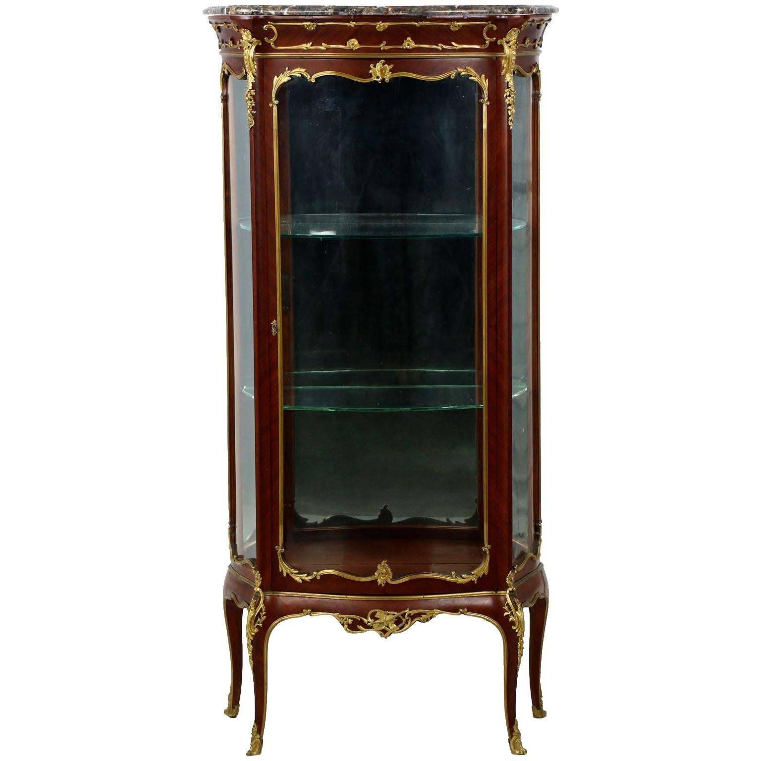 Fine French Louis XV Style Gilt Bronze Vitrine Display Cabinet Case