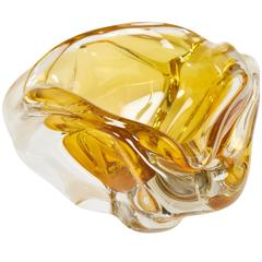 Murano Clear and Amber Handblown Glass Ashtray