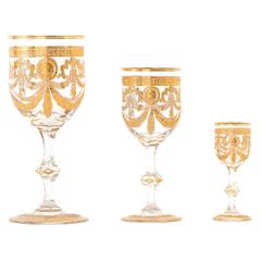 Set of 36 St. Louis Congress Pattern Goblets Including Waters, Wines & Cordials