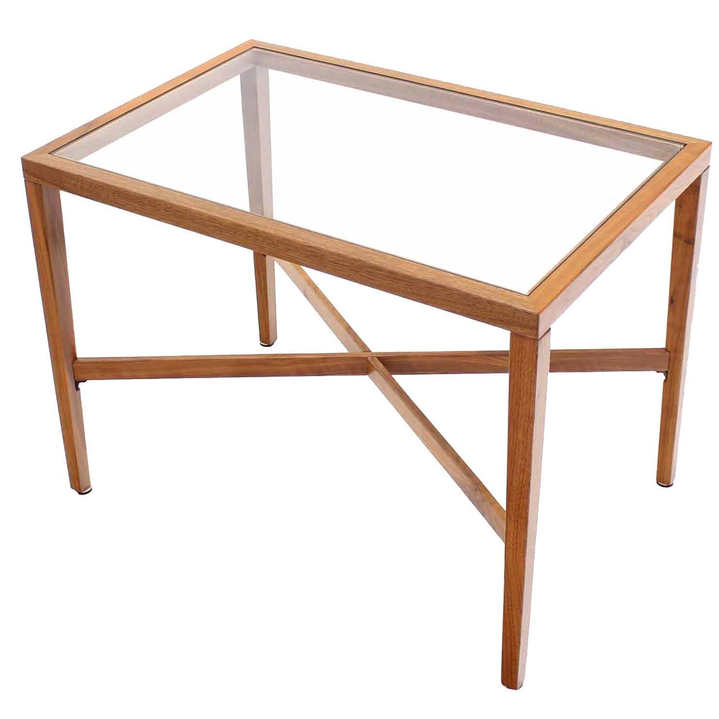 X base rectangular side end table with glass top at 1stdibs for Side table base