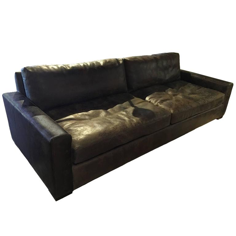Oversized Distressed Leather Sofa At 1stdibs