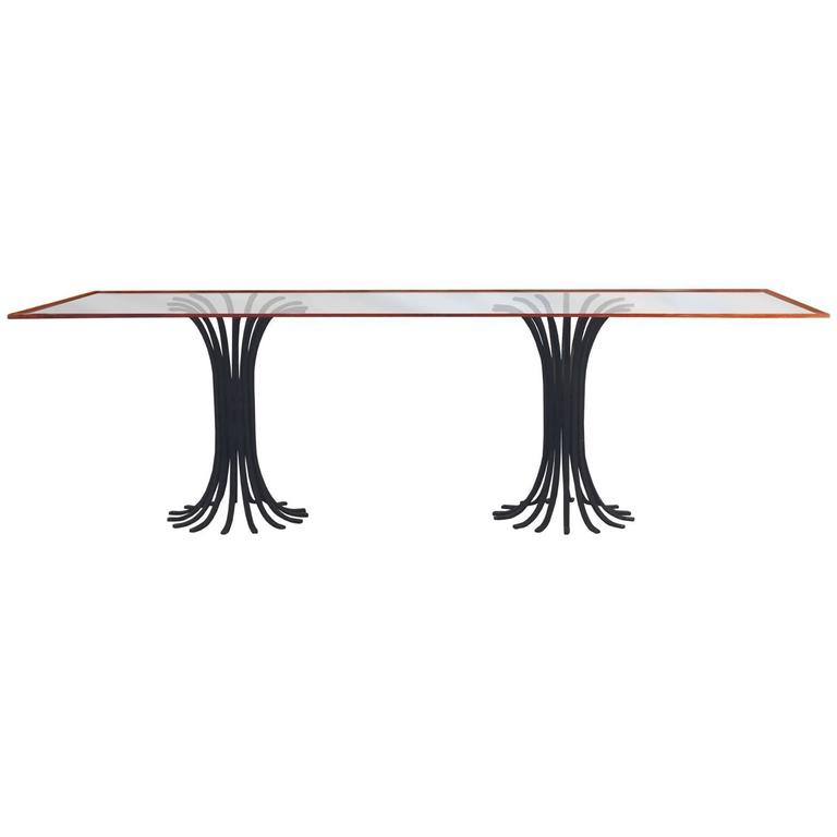 Double Iron Pedestal Glass Top Dining Table Hollywood Regency