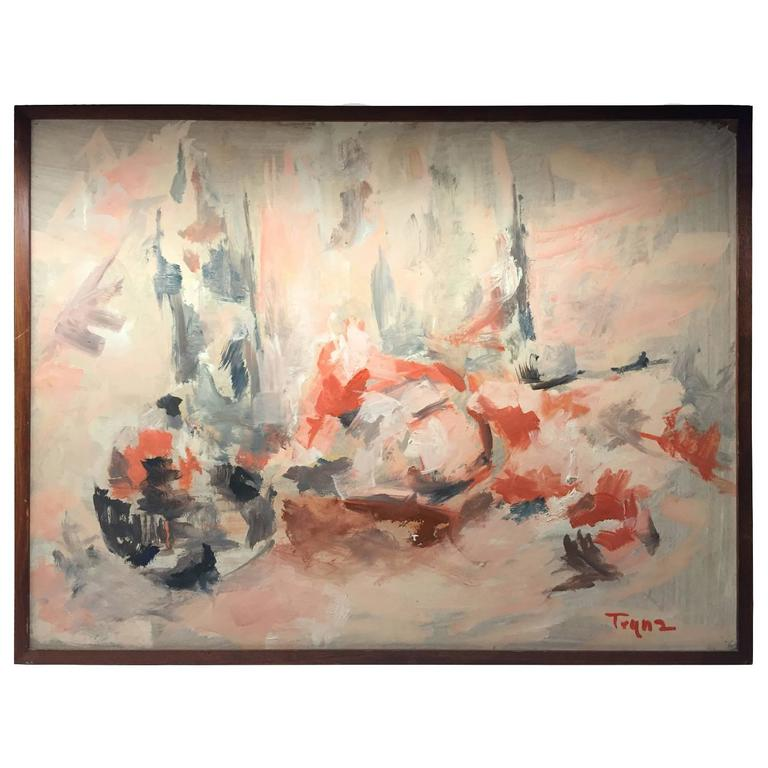 1970s Abstract Oil Painting in Coral Tones