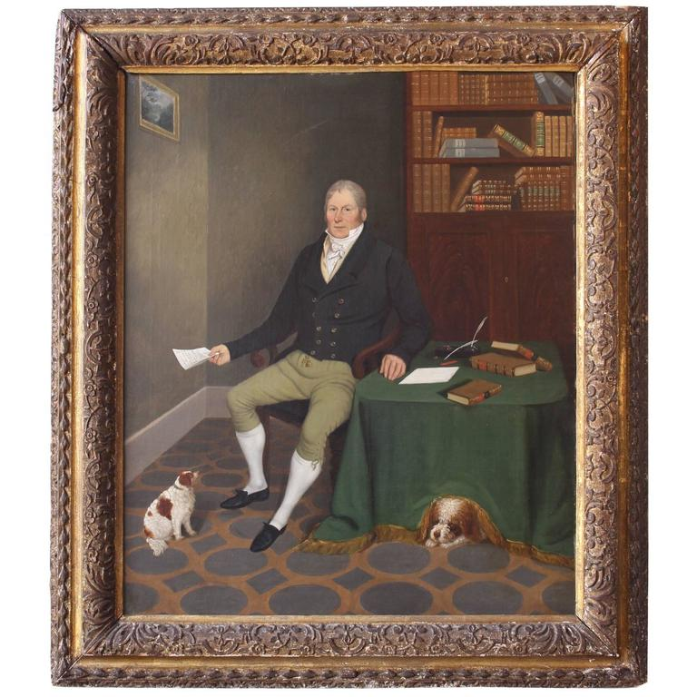 Exceptional Painting of a Gentleman and His Dogs For Sale