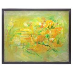 Yellow, Green and Orange Abstract Painting by Anne Brigadier