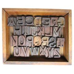 Folk Art Hand-Carved Alphabet Wood Blocks