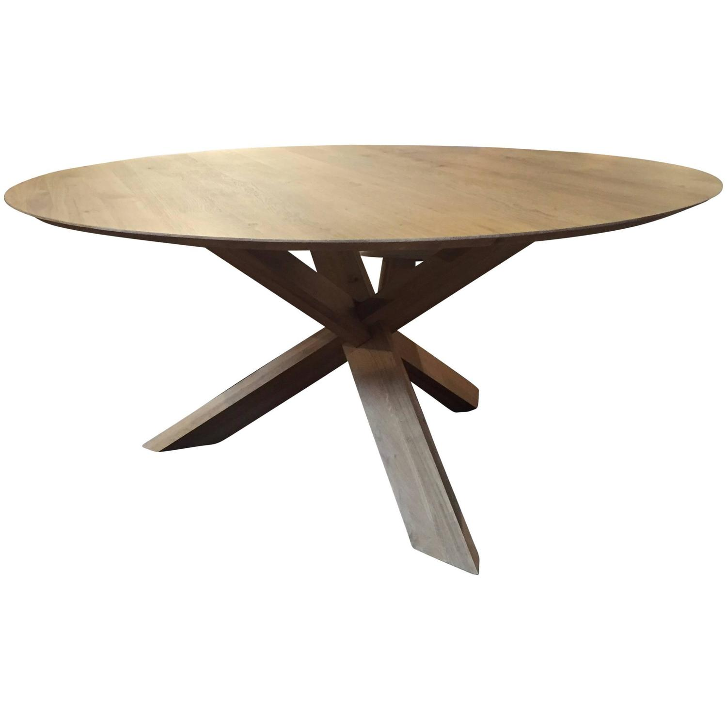 Modern large white oak round dining table haskell design for Large round dining table for sale