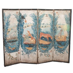 Aesop Fables Theme Painted Small Screen Decorated on Both Sides