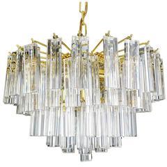 Large Gilded Venini Triedri Prism Chandelier, 1970s Modernist Pendant Lamp