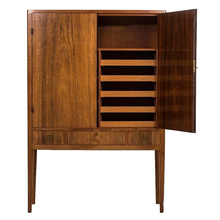 Apprentice Examination Unique Cabinet in Rosewood and Brass