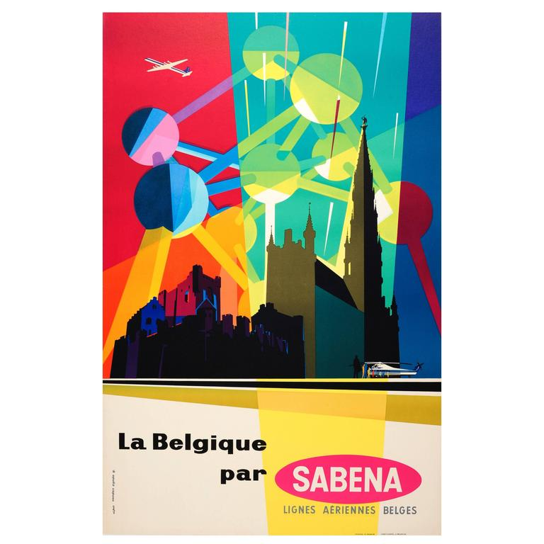 Original Mid Century Sabena Poster For Belgium Featuring The Brussels